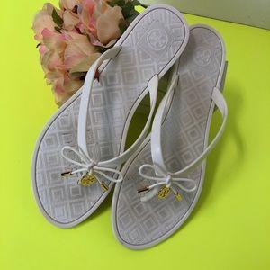 89bb89ba0a371e Tory Burch Shoes - Tory burch jelly bow logo charm thong sandals